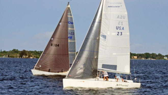 """""""Airborne,"""" a 24-foot Melges skippered by Mike Young, will compete in this weekend's 53rd annual Brevard Challenge."""