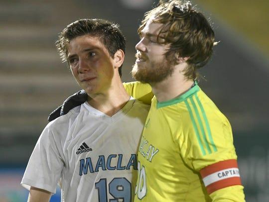 Maclay goalkeeper Taylor Smith hugs teammate Luke Stockstill