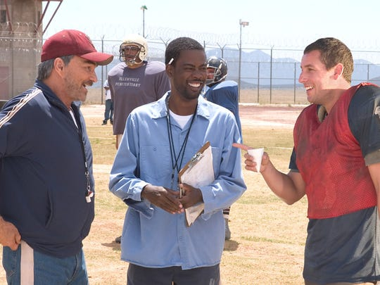 """Burt Reynolds with Chris Rock and Adam Sandler in the 2005 remake of """"The Longest Yard."""""""