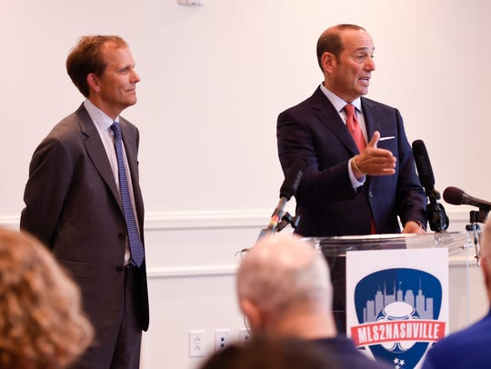 Nashville Soccer Holdings CEO John R. Ingram, left,
