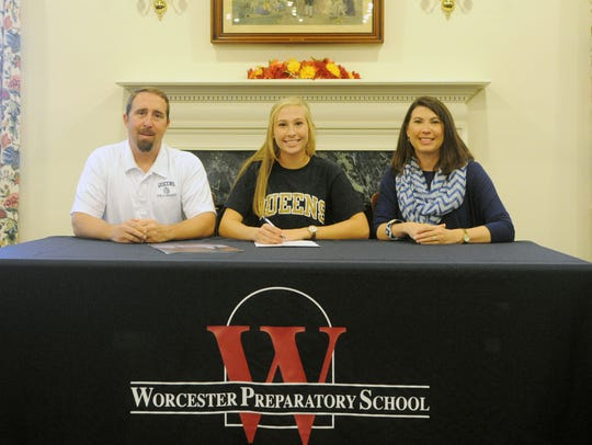 Worcester Prep field hockey player Hanna Nechay signs