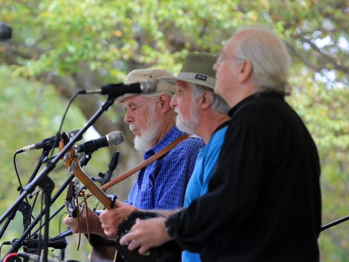 From left, Frank Hendrix,Bob Conroy and  Frank Woemer of the group Stout perform during Pete Seeger Tribute at Germonds Park in West Nyack on Aug. 24, 2014.