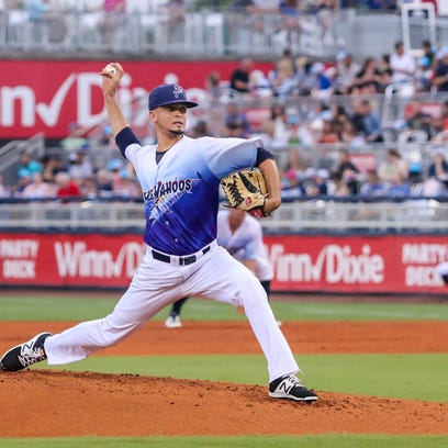 Blue Wahoos pitcher Jesus Reyes, shown in an earlier