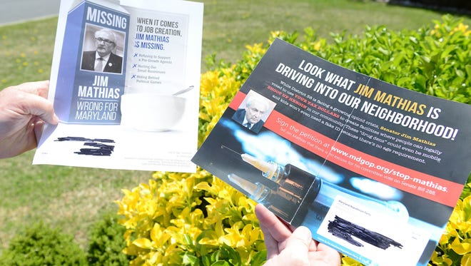 Maryland Senator Jim Mathias, holds negative GOP-funded ads that are targeting Mathias' campaign on Monday, April 23, 2018.