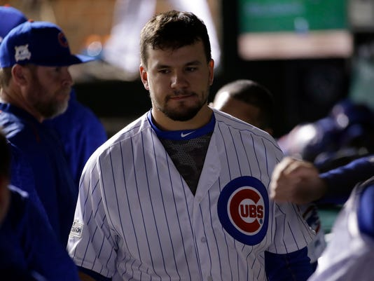 Chicago Cubs' Kyle Schwarber reacts after Game 5 of baseball's National League Championship Series against the Los Angeles Dodgers, Thursday, Oct. 19, 2017, in Chicago. The Dodgers won 11-1 to win the series and advance to the World Series. (AP Photo/Nam Y. Huh)