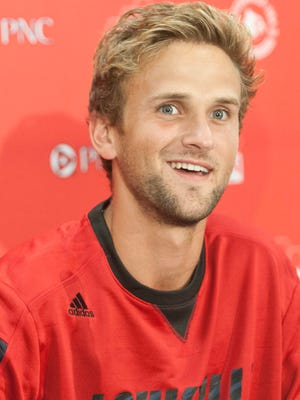 Media day at the Dr. Mark & Cindy Lynn Stadium, a new  state-of-the-art facility that will serve as home for both UofL's men's and women's soccer programs. Here,senior defender Daniel Keller speaks  to the media. 13 August 2014