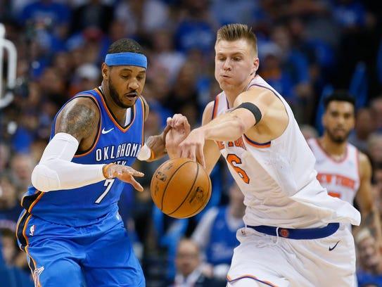 Oklahoma City Thunder forward Carmelo Anthony (7) and