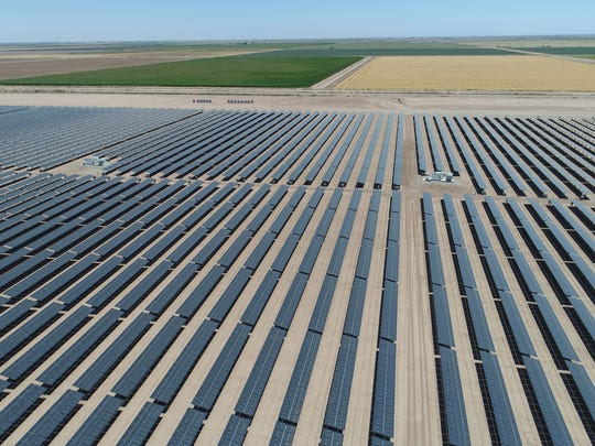 The 50-megawatt Sonora solar farm in Calipatria, California, part of the 150-megawatt Solar Gen 2 project, seen from a drone.