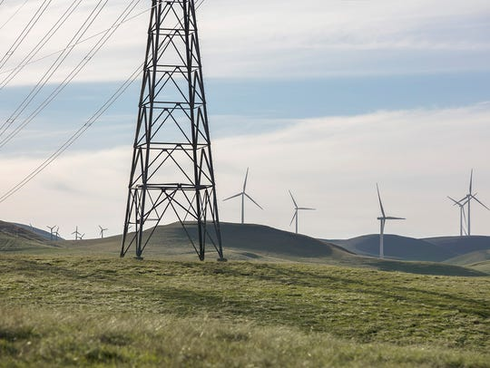 A wind turbine at the Golden Hills wind farm located