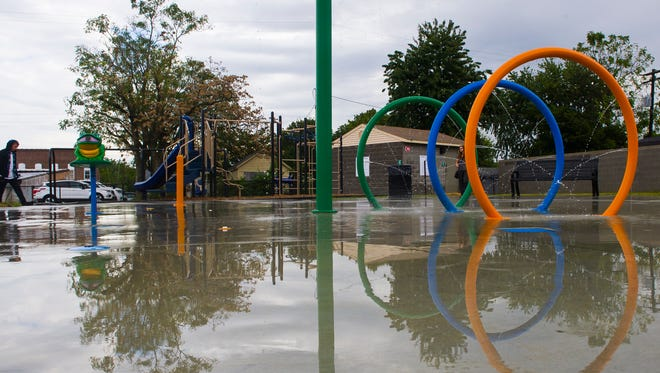 The new splash pad at East End Park on Letcher St. in Henderson, Wednesday, Sept. 28, 2016.