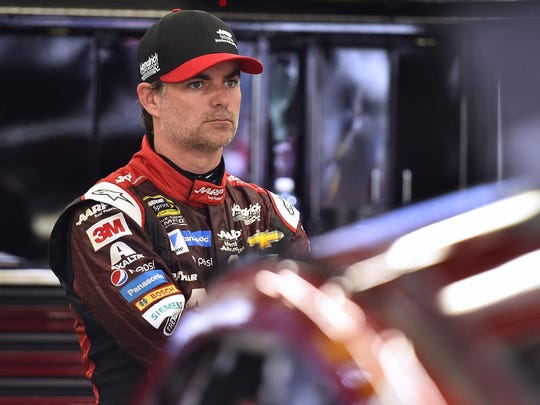 Jeff Gordon looks on during practice at New Hampshire Motor Speedway on July 18.