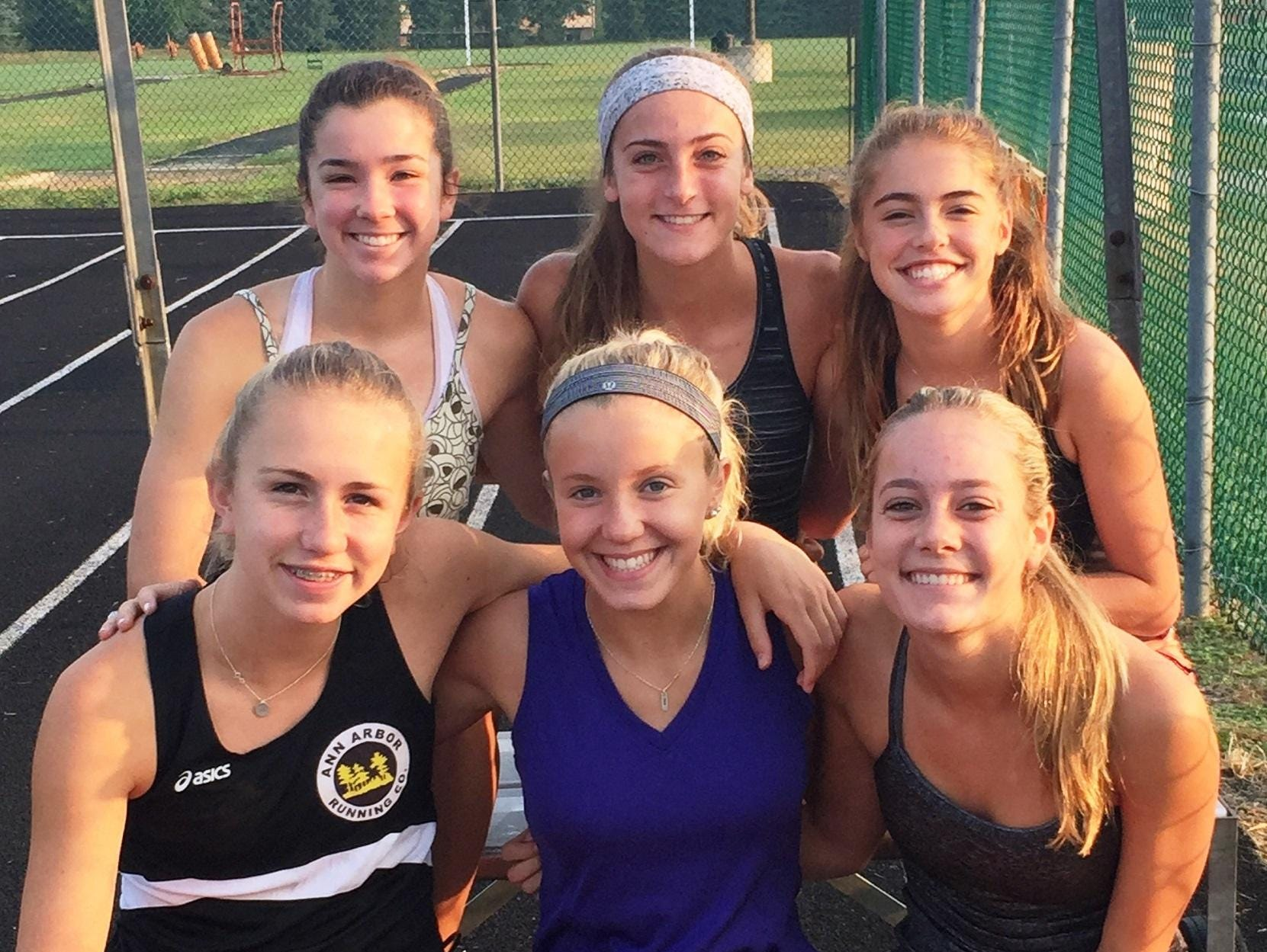 Northville returns its top six runners from a year ago, including (bottom row, from left) Lexa Barrott, Cayla Eckenroth and Hailey Harris, all all-staters and (back row, from left) Emma Herrmann, Emma Smith and Rachel Zimmer.