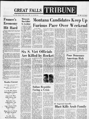 Front page of the Great Falls Tribune on Monday, June 3, 1968.