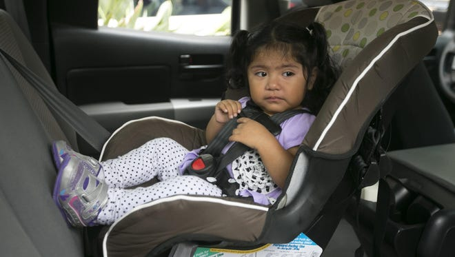 Though some guidelines say infants and toddlers should stay in rear-facing seats until they are 2 years old, you should keep them in rear-facing seats longer if possible, until they reach the height and weight limits listed by the car-seat maker. Then they should stay in forward-facing seats with a harness as long as possible, until they reach the height or weight limits listed by the seat maker. Then they should sit in booster seats, which help position the lap and shoulder belts properly, until they are at least 57 inches tall. Older children should ride in the back seat until they are at least 13, because they can be killed or severely injured by front-seat airbags.