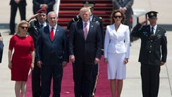 US President Donald Trump and his wife Melania, and