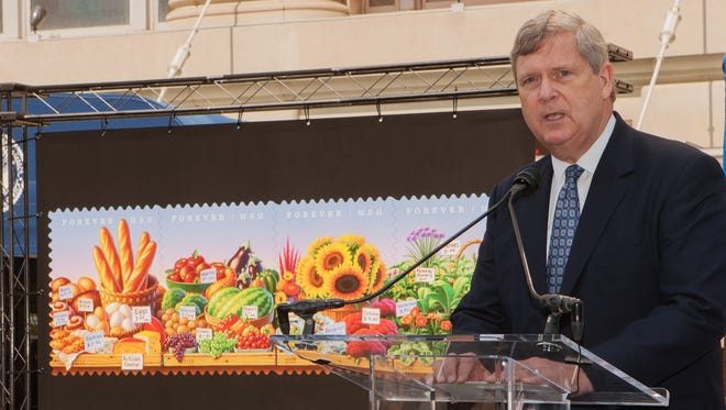 Agriculture Secretary Tom Vilsack speaking at the unveiling of the new farmers market stamp.