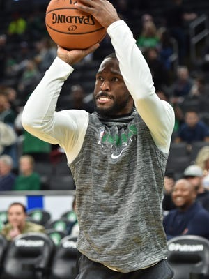 Boston Celtics guard Kemba Walker shoots the ball prior to a game against Oklahoma City Thunder at TD Garden on March 8, 2020.