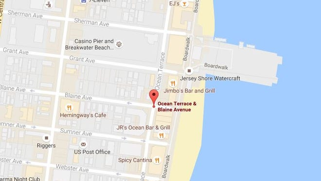 The location where a child was struck by a drunken driver in Seaside Heights on Saturday night.
