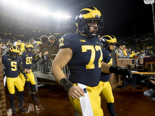 Michigan offensive lineman Stephen Spanellis could