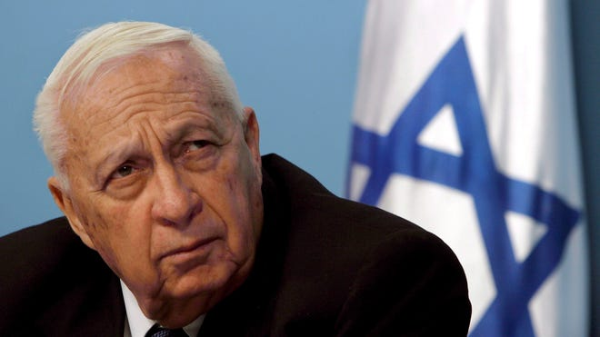 Israeli Prime Minister Ariel Sharon is photographed in his Jerusalem office on Nov. 16, 2005.