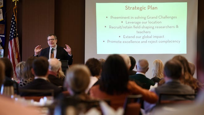 University of Minnesota president Eric Kaler talks about the strategic plan of the University during a St. Cloud Rotary Club meeting Tuesday in St. Cloud.