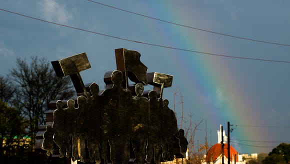 A rainbow over downtown Montgomery, on Wednesday, Dec.