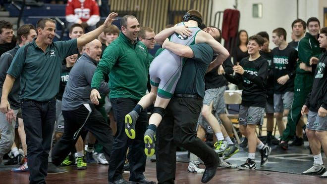 South Plainfield winning. South Plainfield vs Delsea in NJSIAA Group III team wrestling finals.  Toms River, NJ Sunday, February 14, 2016@dhoodhood