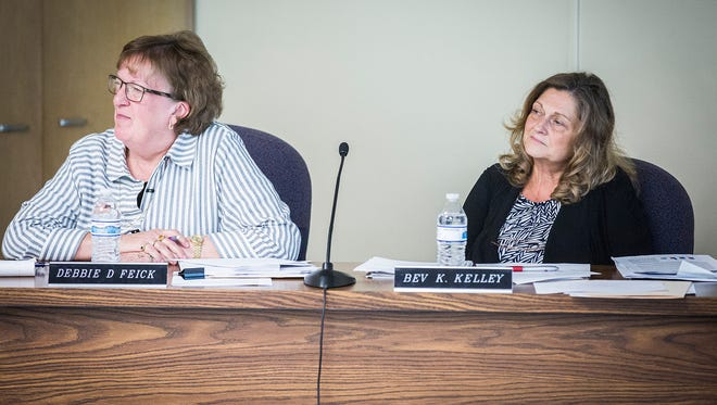 School board members Debbie Feick and Bev Kelley at the Anthony Administration Building Aug. 9, 2016.