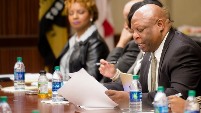 Herbert Young, ASU Board of Trustees member, speaks during the ASU Board of Trustees meeting on Friday, March 3, 2017, at Alabama State University in Montgomery, Ala.