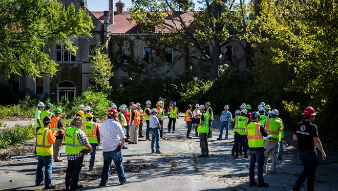 More than fifty contractors attended a full pre-bidding tour of the former Reid Hospital site Thursday. The tour started with a an informational meeting at City Hall and concluded with an onsite Q&A. Contractors were permitted to walk the exterior and interior of the 600,000 square foot vacant facility.