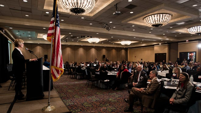 """Lynn Beshear, Alabama Mental health commissioner, speaks during the """"Mental Health Summit: A Day to Discover What Community Mental Health Should Look Like"""" on Thursday, Jan. 11, 2018, in Montgomery, Ala."""