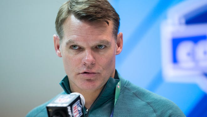 Chris Ballard, General Manager of the Indianapolis Colts, talks with the press at the day's NFL Scouting Combine, in preparation for the year's draft, Wednesday, Feb. 28, 2018.
