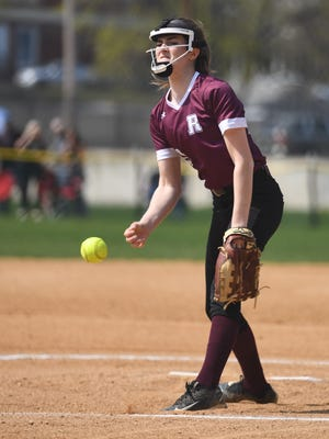 Ridgewood pitcher Lizzie Hannafey, here shown pitching against Fair Lawn, threw a four-hit shutout for the Maroons Saturday against Holy Angels in the second round of the Bergen County Tournament.