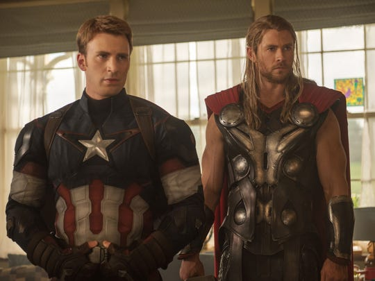 """Chris Evans, left, as Captain America and Chris Hemsworth as Thor, in the new film, """"Avengers: Age Of Ultron."""""""