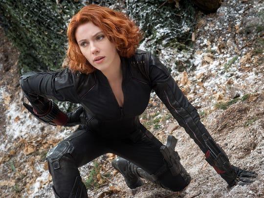 """Scarlett Johansson as Black Widow in the film, """"Avengers: Age Of Ultron."""""""