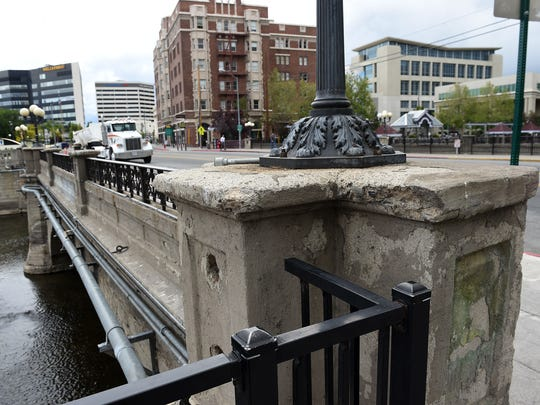 The Virginia St. Bridge is seen over the Truckee River during the groundbreaking ceremony for the Virginia Street Bridge Project in downtown Reno on May 20, 2015.