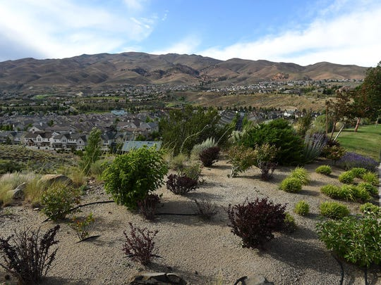 An irrigated landscape area is seen at the Somersett development in northwest Reno on July 9, 2015.