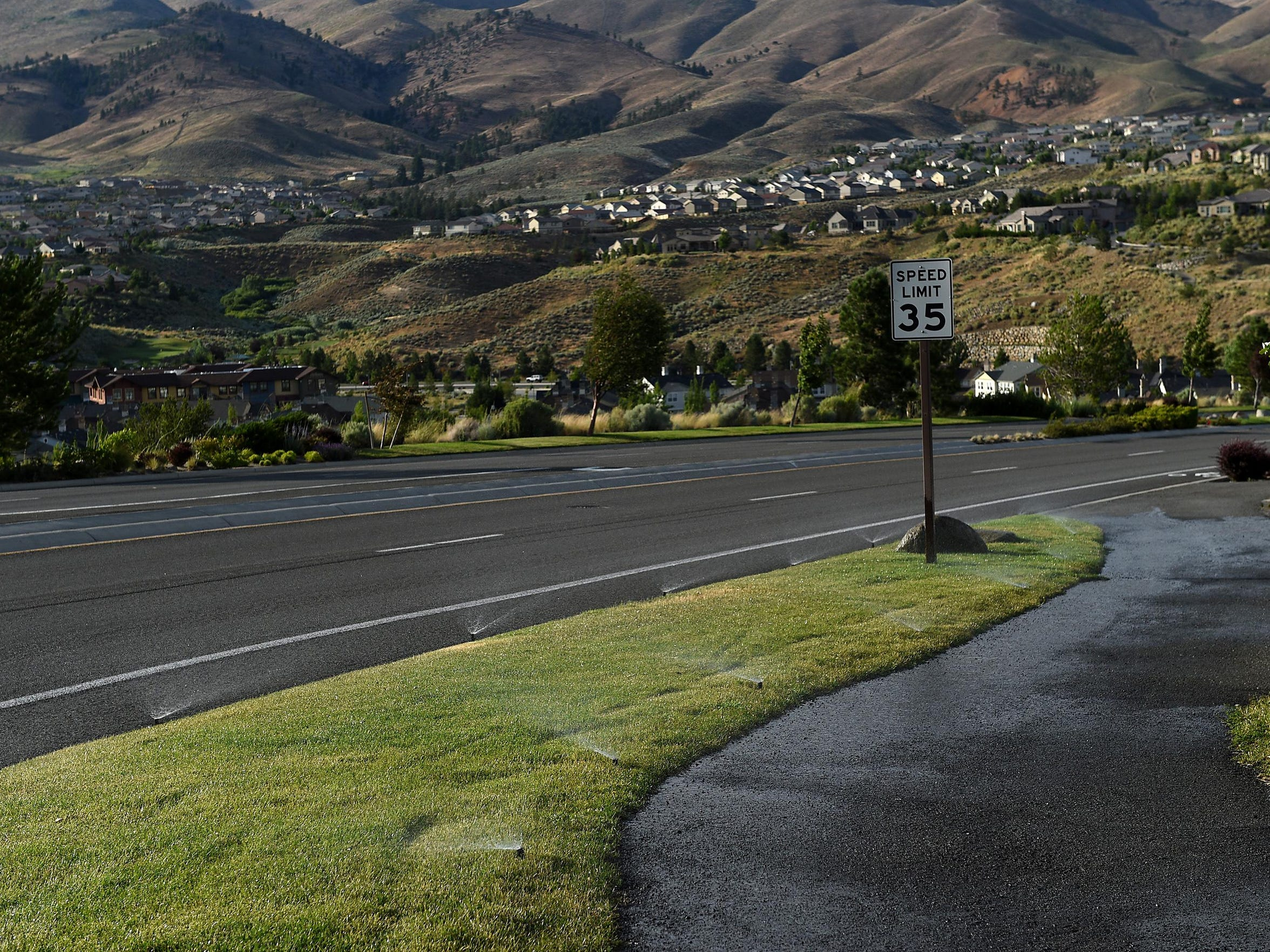 One of the common roadside areas at the Somersett development in northwest Reno.
