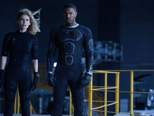 "Kate Mara, left, and Michael B. Jordan star in ""Fantastic Four."""