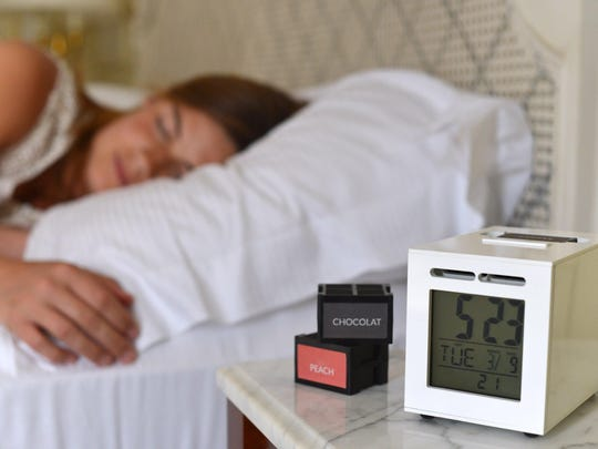 The Sensorwake is a scent-based alarm clock. Instead of emitting that annoying buzzer to get you out of bed, Sensorwake emits a desirable fragrance for a couple of minutes to rouse you.