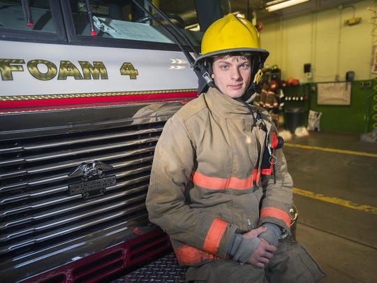 Nick Sladky, 18, of Vestal, has been a volunteer firefighter at Station 4 in Vestal for two years.