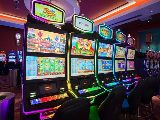 Slot machines at Tioga Downs, New York.