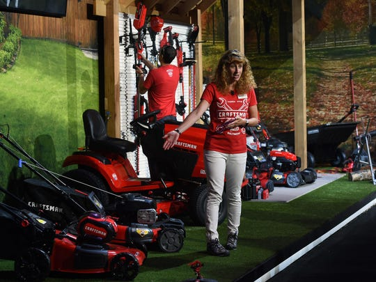 Christine Potter, vice president of outdoor power equipment, talks about Craftsman mowers and the battery system that can be used on many of their tools on Aug. 16, 2018. Stanley Black & Decker, which bought Sears' Craftsman tool line last year, relaunched the brand at the Craftsman Garage in Middle River.