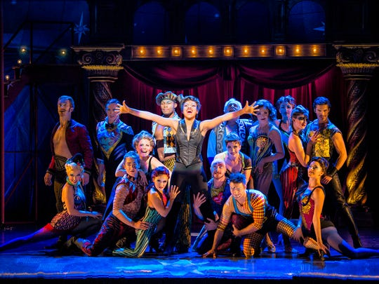 """Sasha Allen, center, stars as the ringmaster in the circus-themed revival of """"Pippin."""""""