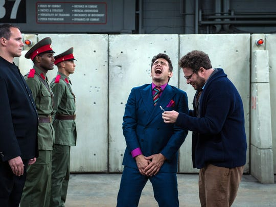 """James Franco (center) and Seth Rogen star in """"The Interview."""""""