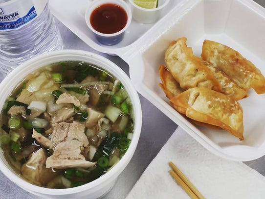 An order of pho and dumplings from Pho Vinh Express