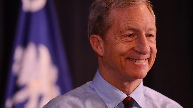 One-time presidential candidate Tom Steyer, seen here at a campaign event in February 2020, addressed the Greater Coachella Valley Chamber of Commerce in a Zoom call on September 29, 2020.