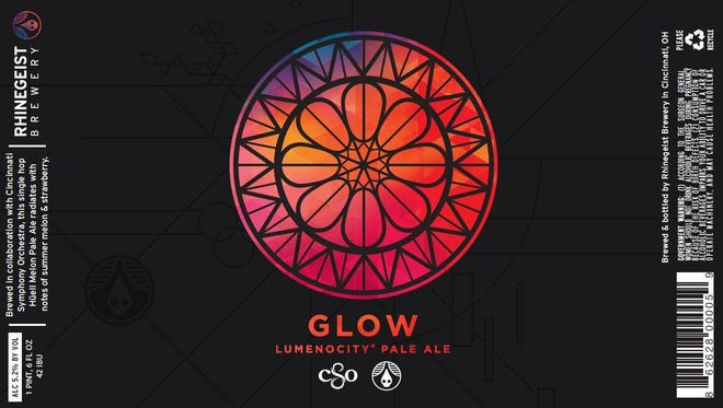 The label for Glow Lumenocity Pale Ale, a collaboration between Rhinegeist and CSO.