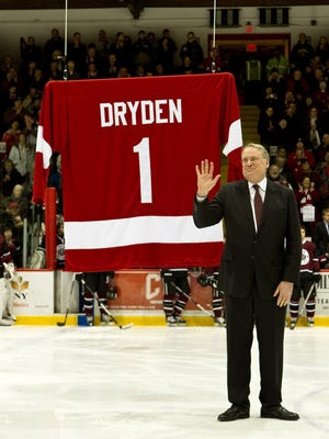 Legendary goalie Ken Dryden is pictured on March 2, 2010, at Lynah Rink, during a ceremony to retire both his and Joe Nieuwendyk's numbers.