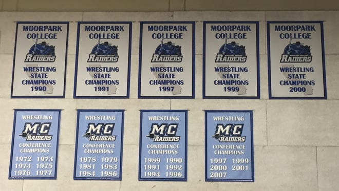Eight years after it last saw a Moorpark College wrestling match, Raider Pavilion remains dominated by wrestling banners.